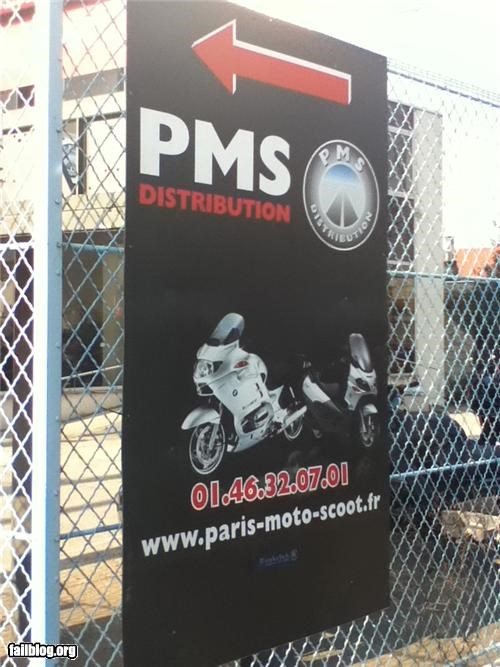 acronym Ad failboat g rated motorcycle parts pms sign - 4558416896