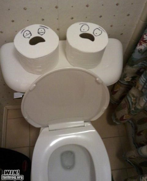 bathroom,cute,faces,toilet paper