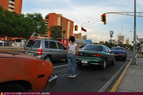 car,lady,license plate,traffic