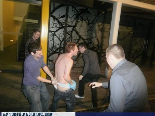 bad idea,group,shirtless,wedgie