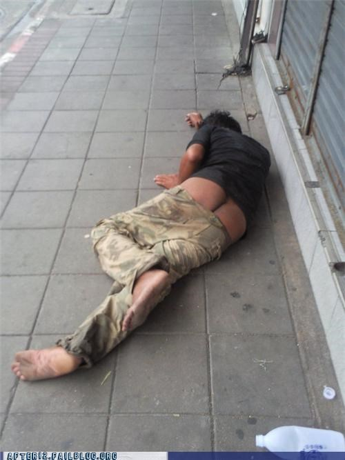 butt,crack,drunk,pants,passed out,sidewalk,street