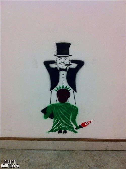 grafitti,monopoly,politics,sexual,stencil