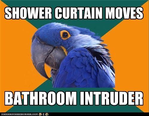 bathroom,intruder,shower,shower curtain