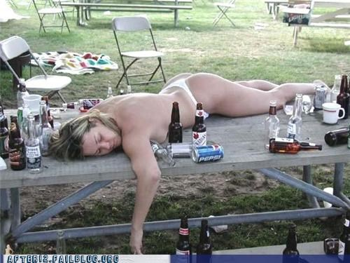 au natural,beer,bottle,drunk,passed out,pepsi,picnic table