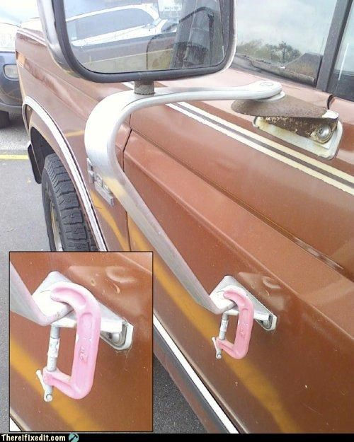 cars clamps holding it up mirrors