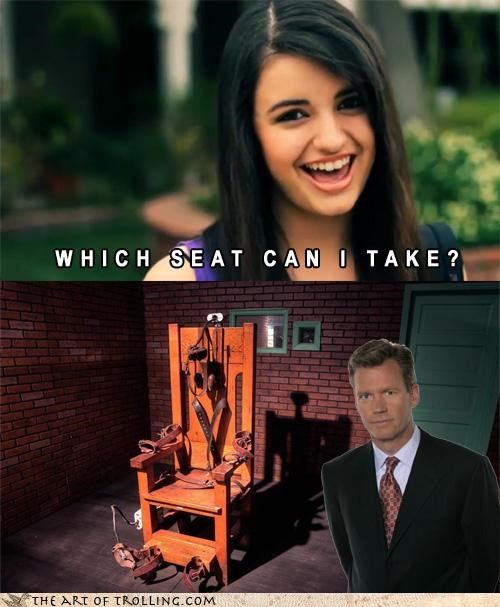 Chris Hansen,Death,electric chair,FRIDAY,Rebecca Black,take a seat,which seat can i take