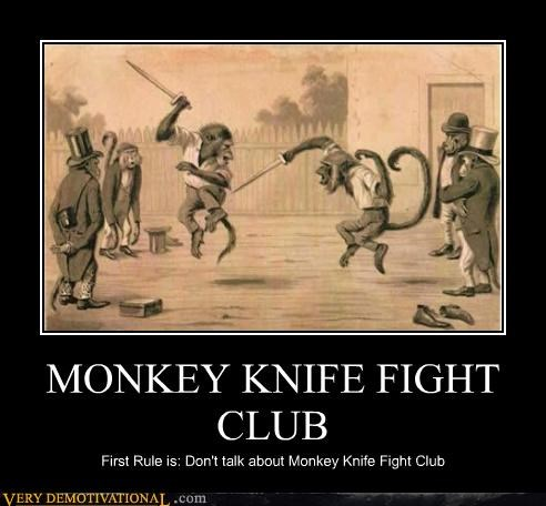 monkey,knife,fight club,first rule