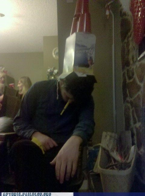 beer,box,cardboard box,drunk,kokanee,passed out