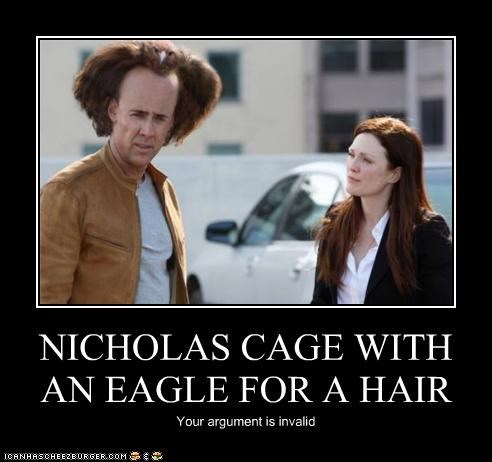 NICHOLAS CAGE WITH AN EAGLE FOR A HAIR