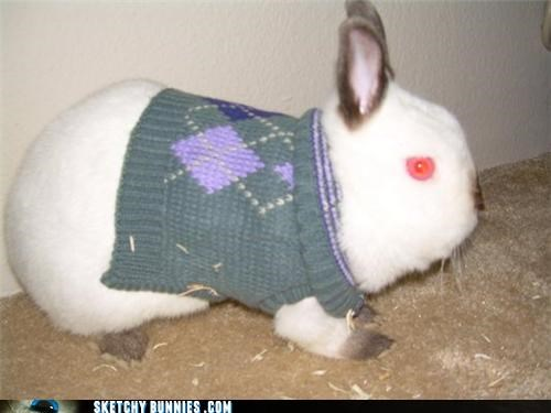 bunny rabbit creepy extra easter egg red eyes sweater - 4564197376