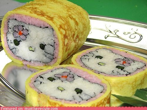 egg epicute face Flower hello kitty ice roll seaweed sushi - 4564243456