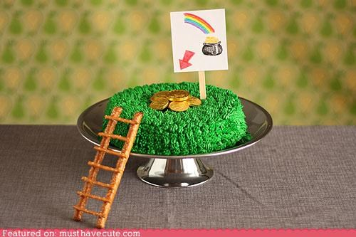cake,epicute,gold,green,ladder,leprechaun,pretzels,trap
