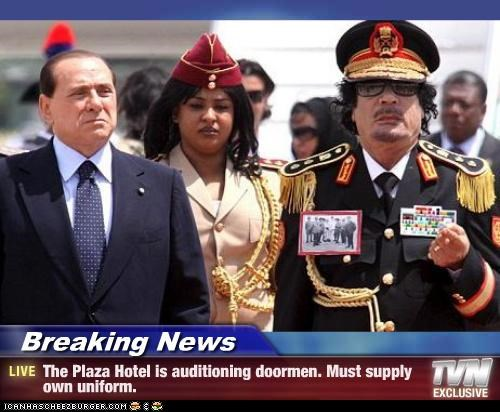 Breaking News - The Plaza Hotel is auditioning doormen. Must supply own uniform.