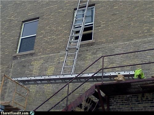 dangerous holding it up ladders Professional At Work - 4564567040