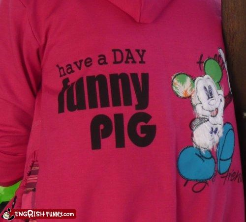 clothing,fashion,funny pig,knockoff,mickey mouse