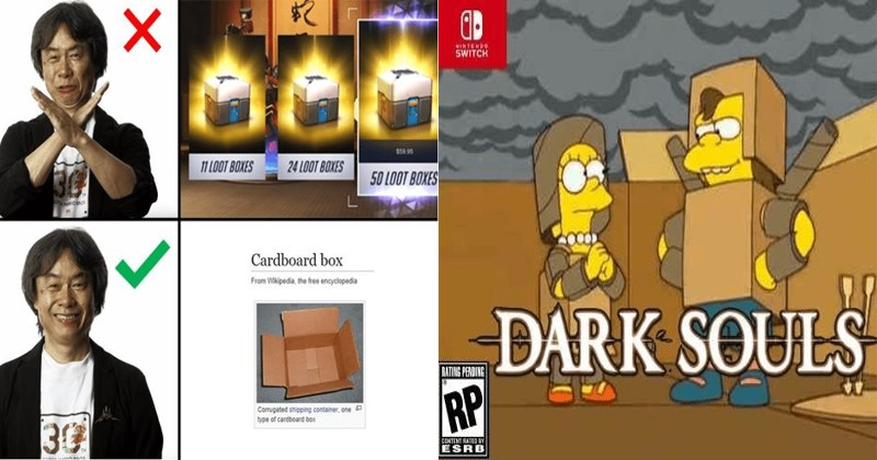 Funny memes about the release of Nintendo Labo, cardboard, Nintendo switch, games, gaming memes, cardboard memes, dark souls.