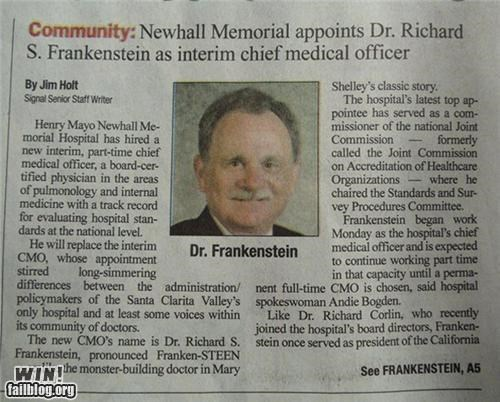 completely relevant news,doctor,frankenstein,monster,names