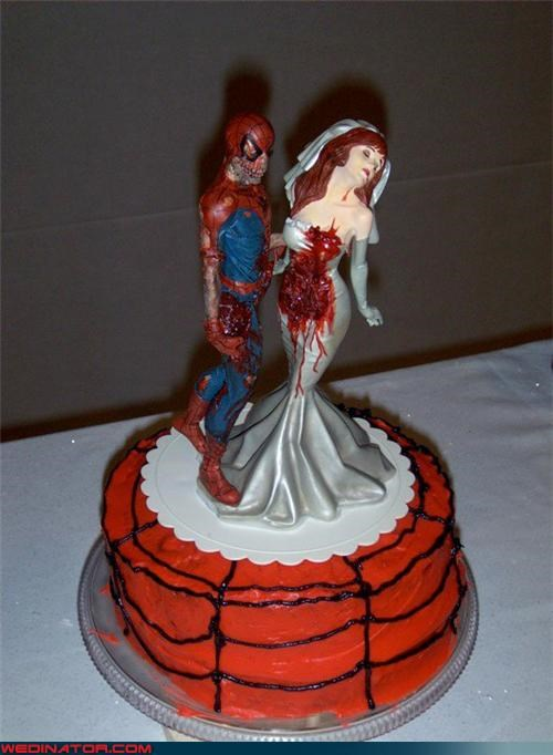 cake toppers,funny wedding photos,Spider-Man,wedding cake,zombie