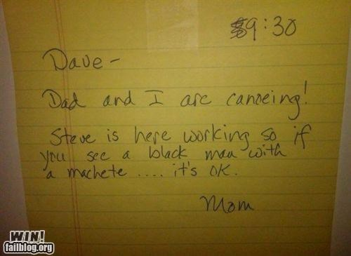 machete,notes,parents,racism