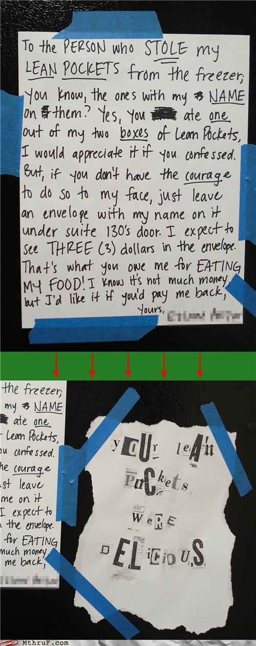 food kitchen lean pockets note passive aggressive stole thief