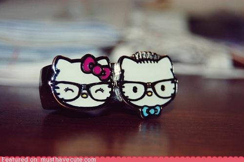 glasses hello kitty Jewelry nerdy ring - 4567400448