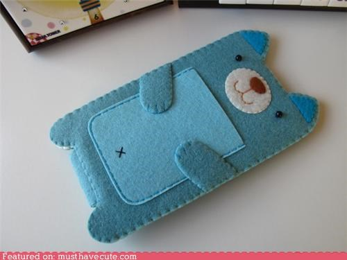 blue case felt iphone kitty sleeve - 4567428352