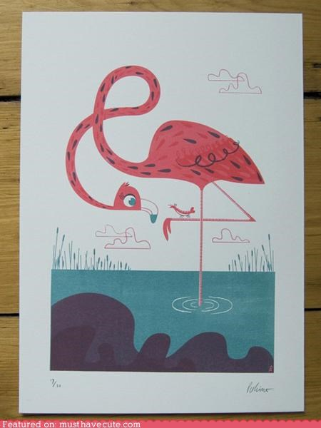flamingo,pink,print,Screenprint