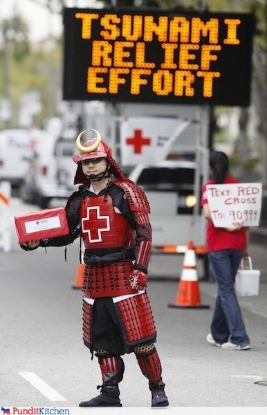 awesome,costume,Japan,Natural Disasters,red cross,samurai,Tsunami