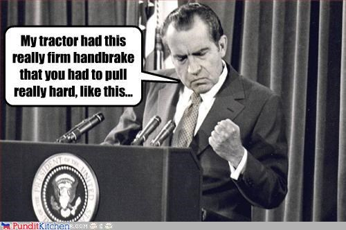 presidents,Richard Nixon,silly,tractor,wtf