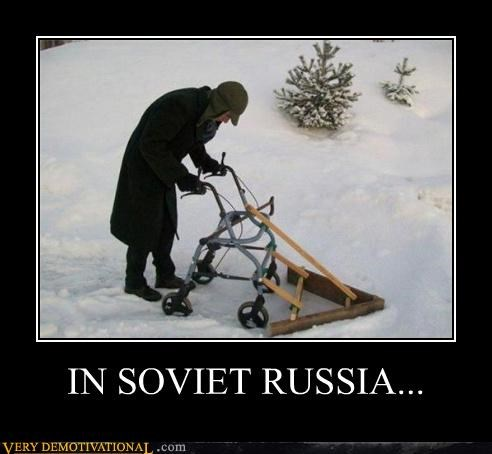 Soviet Russia snow plow old ladies walker