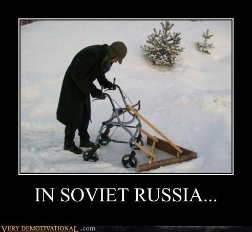 Soviet Russia snow plow old ladies walker - 4569180928