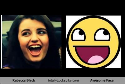 awesome face emoticons FRIDAY Hall of Fame happy Memes Rebecca Black singers - 4569199104