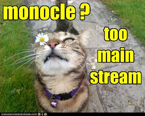 caption,captioned,cat,daisy,Flower,hipster,hipster kitteh,mainstream,monocle,too
