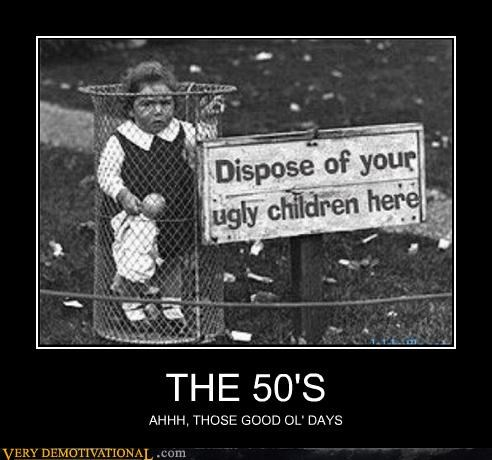 50s,garbage,kids,sign
