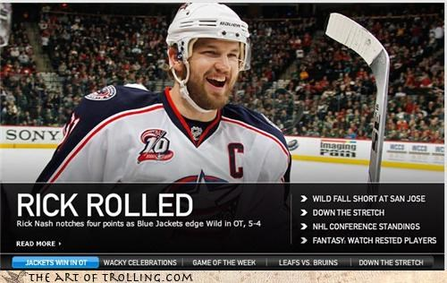 hockey,IRL,rick nash,rick roll