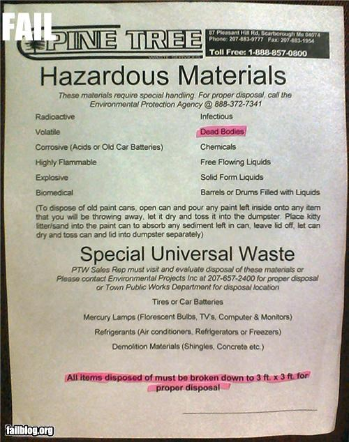 bodies,disposal,eww,failboat,gross,hazardous,materials,sign