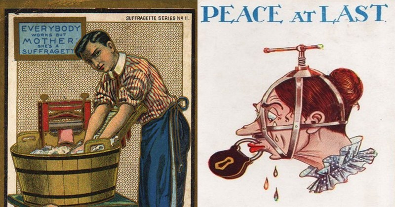 Vintage anti-suffrage postcards.