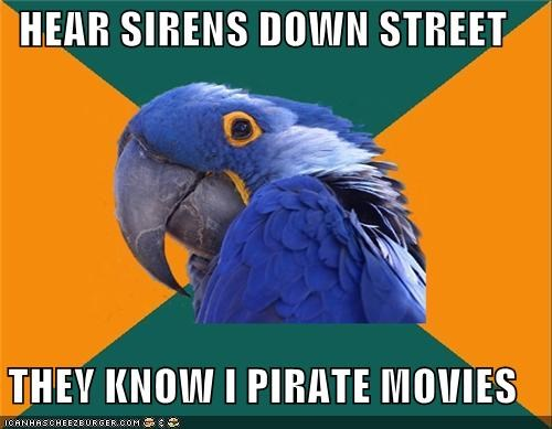 down the street,Paranoid Parrot,pirate movies,sirense