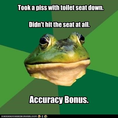 accuracy bonus,foul bachelor frog,pee with seat down,winning