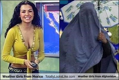 afghanistan,bewbs,burqa,differences,Hall of Fame,mexico,news,weather,weather girls