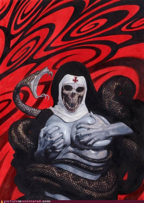 art,nun,skull,snake