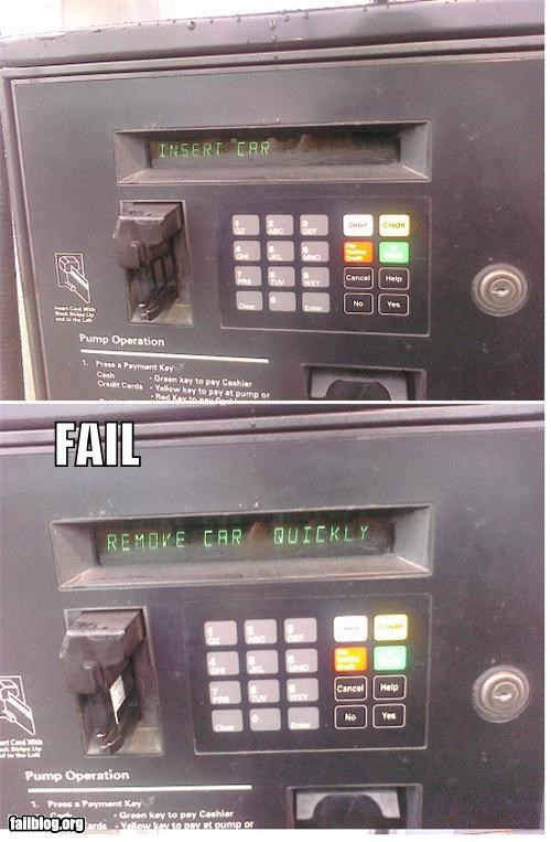bad idea,cars,failboat,gas pump,gasoline,g rated,instructions,missing a letter