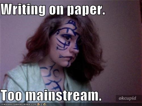 mainstream,paper,weird kid,writing