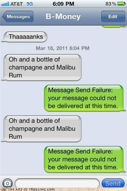 booze,message send failure,text