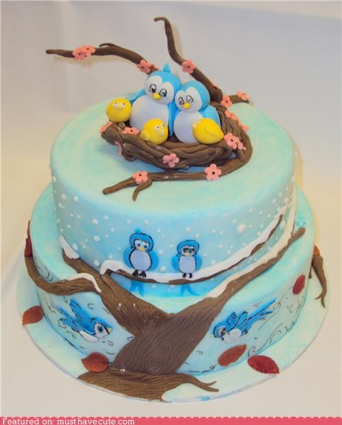 birds,branches,cake,epicute,fondant,nest,seasons,tree
