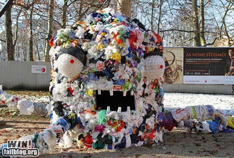 art,clever,garbage,monster,plastic bags,trash