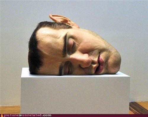 art creepy head sleepy wtf