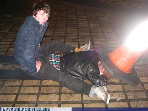 cone funny passed out drunk streets traffic cone - 4576258304