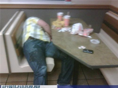 drunk passed out puke restaurant vomit what a burger - 4576259328