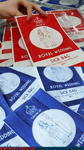 funny wedding photos kate middleton prince william royal wedding Royal Wedding Madness sick bag - 4576730624